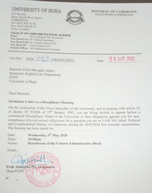 ub dean summon bala in a disciplinary council