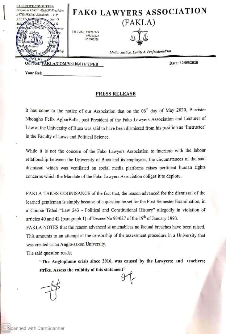 Fako Lawyers Association WEEP for the University of Buea, describes Bar. Agbor Balla's Dismissal as a Human Rights Violation and political intrusion into the University management